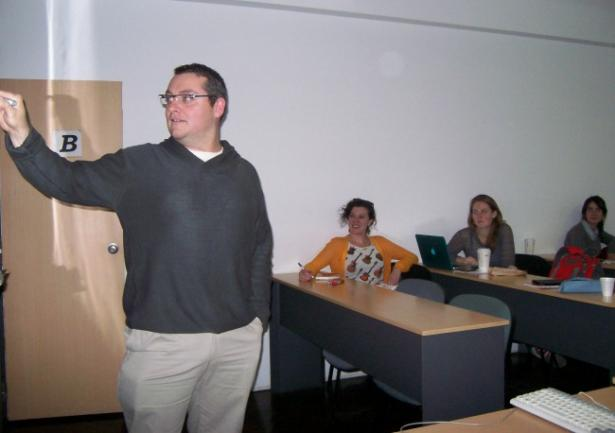 Professor Langenbacher in front of a class