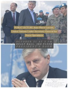 Flyer for Under-Secretary-General's lecture to Georgetown graduate students on United Nations peace operations.