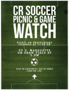 Conflict Resolution soccer picnic and game watch flyer